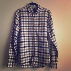 American Eagle Blue and White Plaid Button Up